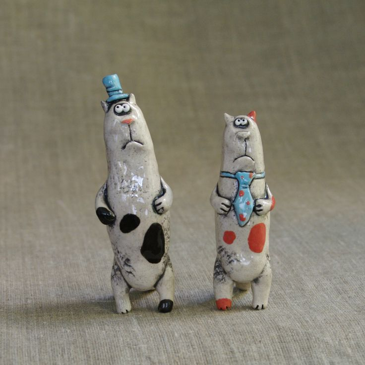"""Ceramic figurines """"Business cats"""" by KuklaArt on Etsy"""