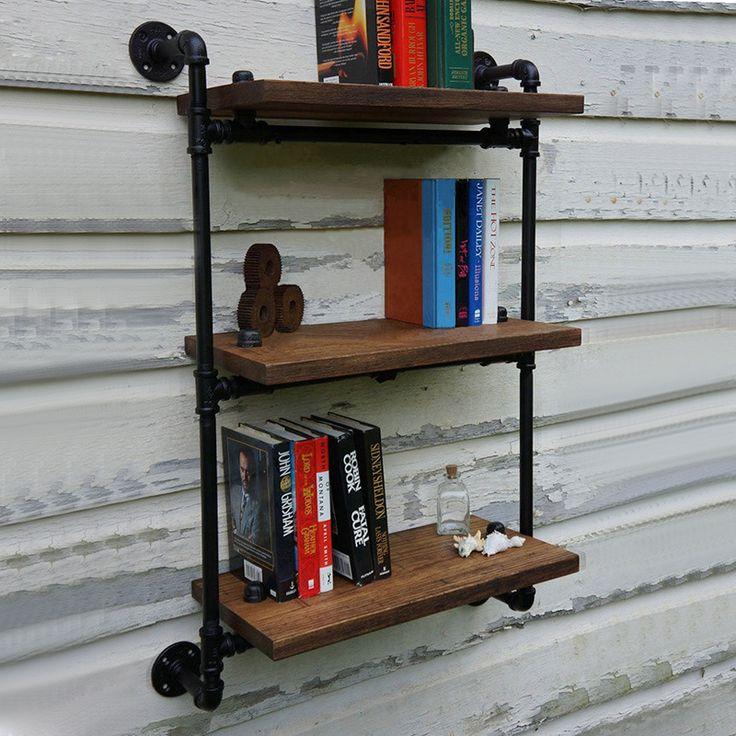 Separadores de LOFT Arte Prateleira de Montagem Na Parede De Madeira Do Vintage Americano Antique Ferro Forjado Prateleira De Parede Bookshelf-Z8(China (Mainland))