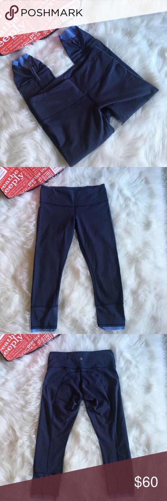 lululemon leggings with mesh detail lululemon blue leggings with light blue mesh detail at bottom.  Size 8.  Regular rise.  The bottom can be scrunched to show mesh detail.  7/8 length.  Overall good condition.  Some very light pilling. lululemon athletica Pants Leggings