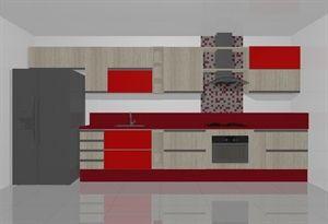 cozinha cooktop vermelha  - Galeria de Projetos Promob