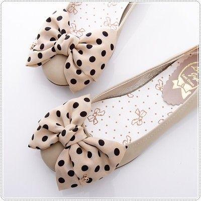 BN Satin Polka Dots Bowed Ladies Wedding Ballet Flats Shoes Beige Ivory Black | eBay