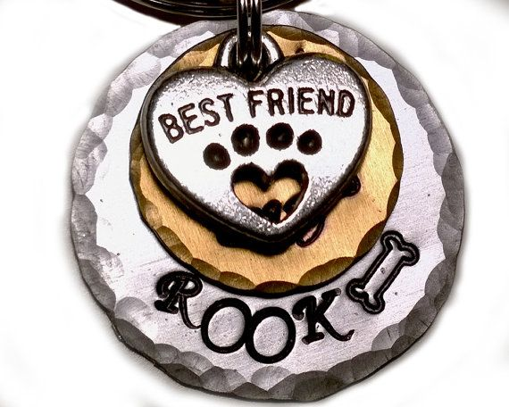 "Hand stamped 1"" pet ID tag made from durable 14ga aluminum from KeiiekPetTags on Etsy. #PetTag #PetProducts #Etsy"