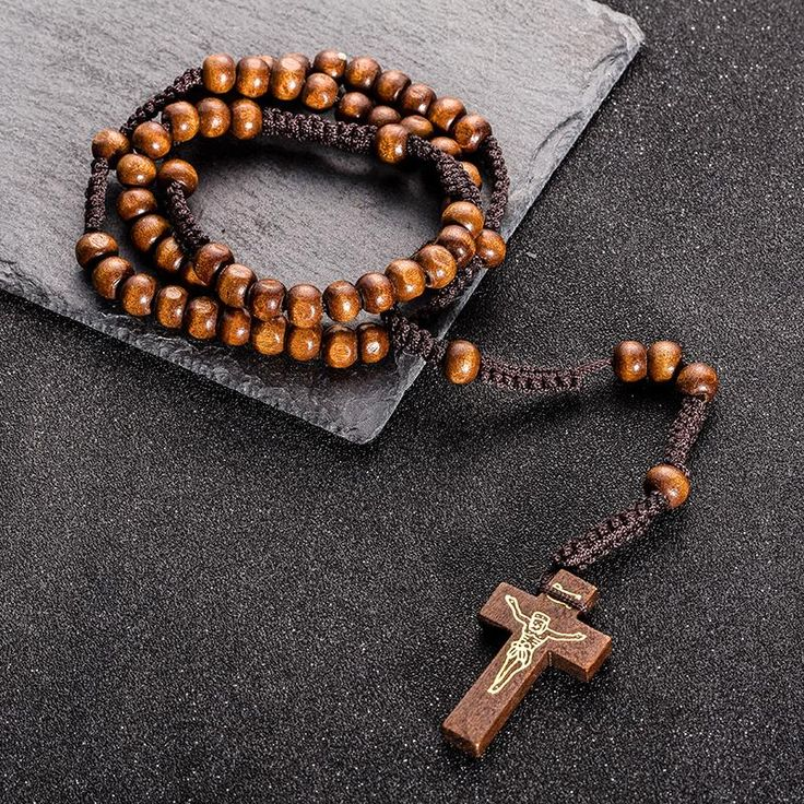 Wallmart.win Long Rope Chain Wooden Beads Jesus Christ Cross Pendant Necklace Choker For Priest Religion Costume Jewelry Accessories Sales:…