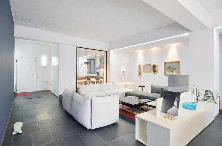 Apartment in Bucharest  - #interior #interiordesign #kitchen #living #lifestyle #housing #residential #white #slate  #urban #architecture #apartment #relax #furniture #custom #shelves #book #booklovers