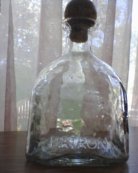 HALF PRICE SALE Empty recycled Patron Tequila Bottles for crafts, weddings, candles, slumping etc. $3.99, via Etsy.