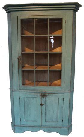 19th century Pennsylvania blue corner cupboard