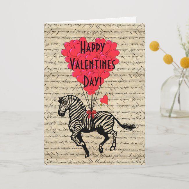 Romantic Zebra Valentines Day Holiday Card Zazzle Com In 2020