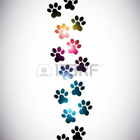 abstraites colorées empreintes de pattes Banque d'images