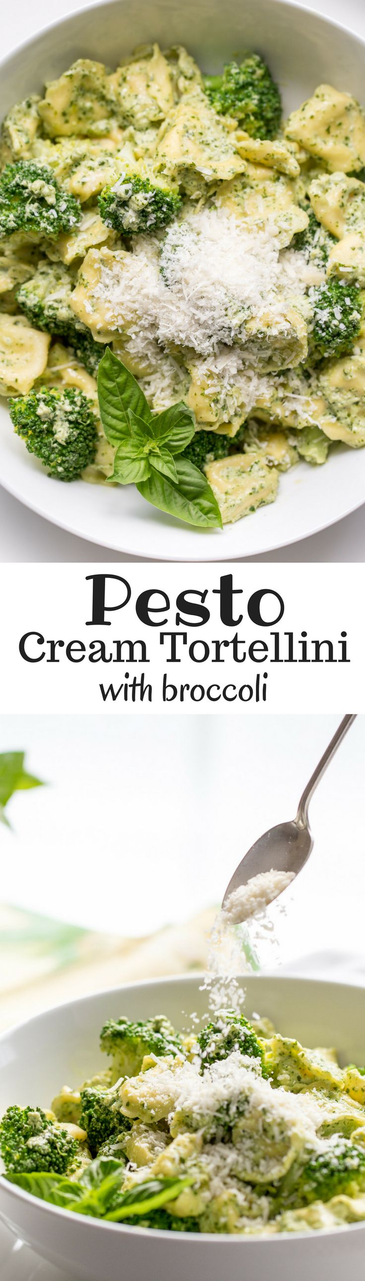 Basil Pesto Cream with Tortellini and Steamed Broccoli - super simple and full of terrific flavor - a memorable dish ready in minutes! | www.savingdessert.com