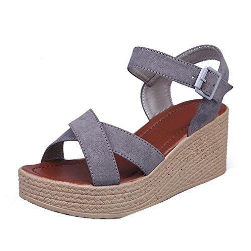 Oferta: 13.5€. Comprar Ofertas de Sandalias de vestir, Culater Zapatos mujer plataforma bajos Zapatillas (39, Gris) barato. ¡Mira las ofertas!