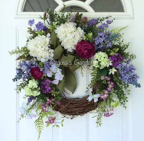 Summer Door Wreath-Hydrangea Wreath-Farmhouse Decor-French