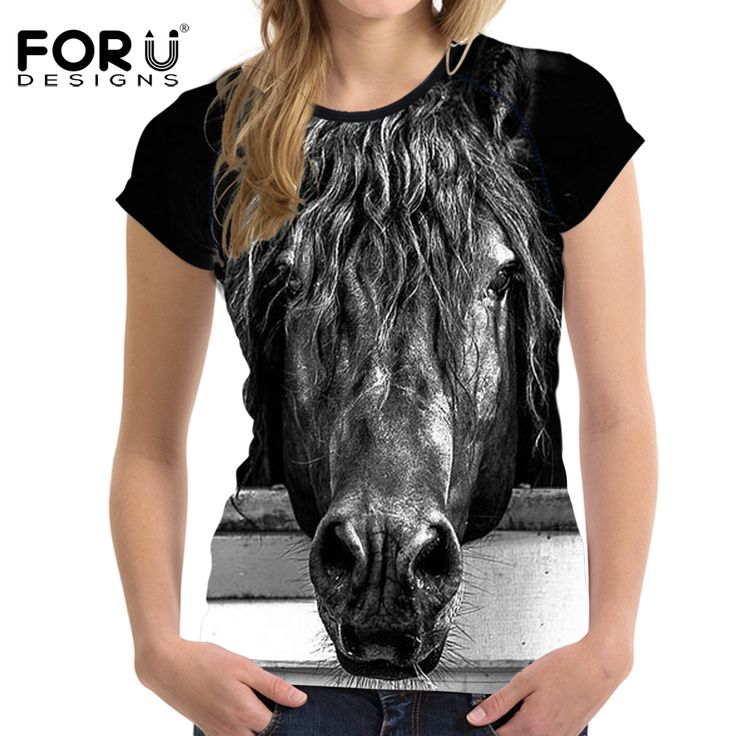 FORUDESIGNS Black 3D Horse Head Women T Shirt  Summer Casual T-shirt Crop Tee Woman Tops Slim Bodybuilding Female t Shirts 2017  #Affiliate