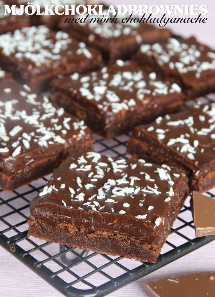 Mjölkchokladsbrownies med mörk chokladtryffel | Tidningen Hembakat