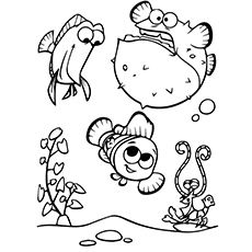 A Cute Finding Nemo Coloring tree