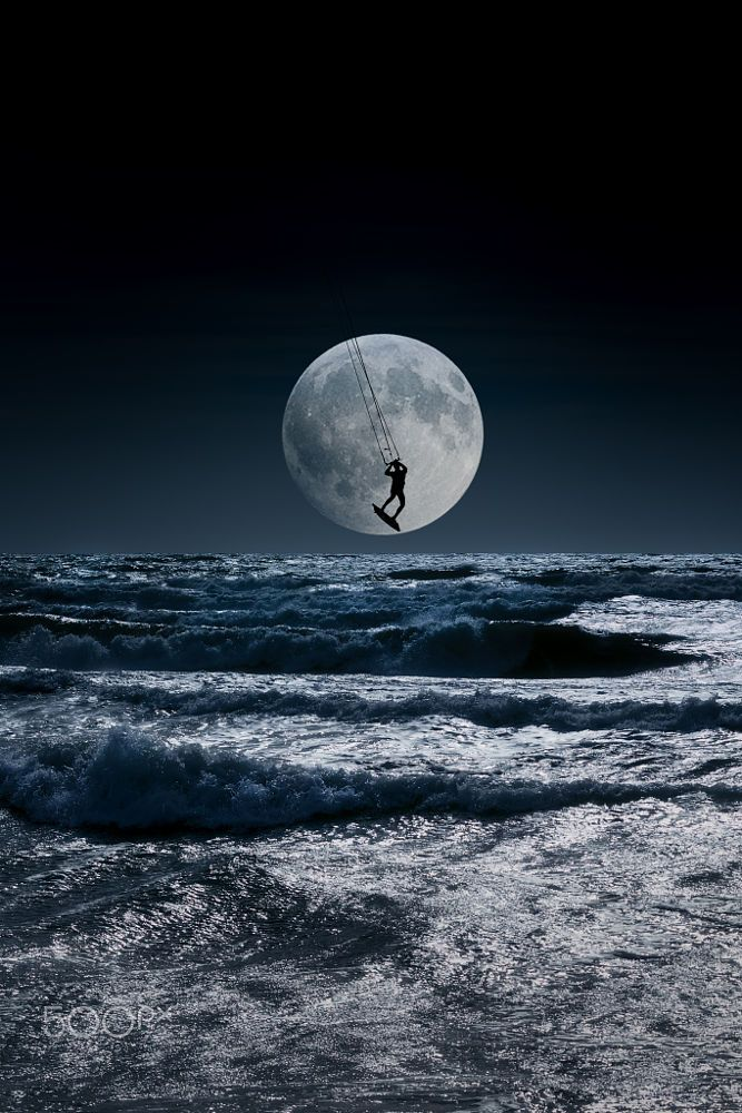 Kitesurfer in a blue night sky horizon by Mira Pen on 500px