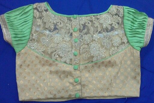 Banaras blouse with net work piece and hands georget 91 9866583602 whatsapp no 7702919644