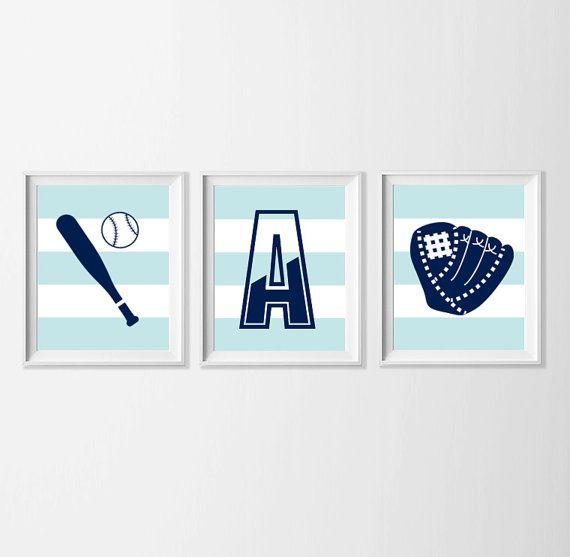Personalized Baseball Nursery Art  Sports Wall Art  Navy