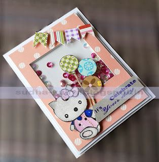 Shake...Shake...#Shakercard...Our creation...using #cupsequins available in our store...   Check the full post on our blog here- http://sudha-kalra.blogspot.in/2017/07/paper-shakercelebrate-its-your-day.html