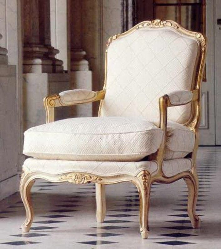 French Style Salon Arm Chair 1821 Cream Off White