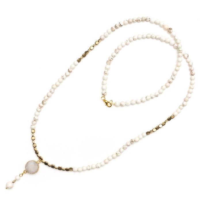 xada jewellery - Shimmer Long druzy gold and Howlite necklace, $69.95 (http://www.xadajewellery.com/shop-collection/long-druzy-gold-and-howlite-necklace/)