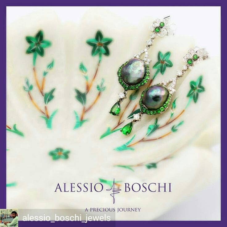 From Mughal Perfumes Collection inspired by the decorations of Jaipur Royal Palace Earrings in Tahitian Green Peacock Keshi Pearls, Diamonds and Tsavorites.