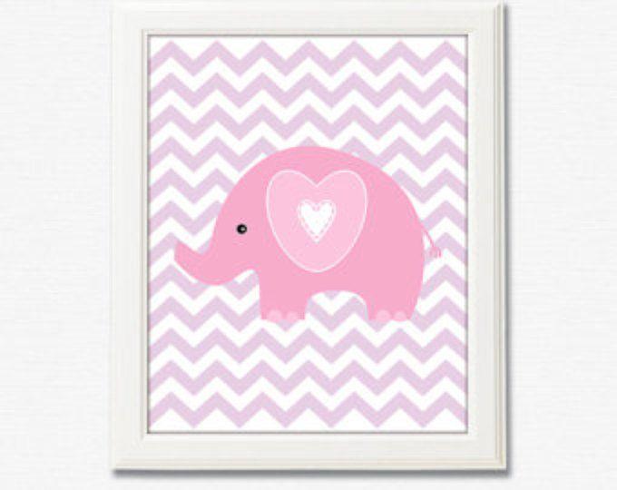 Rosa y púrpura elefante vivero arte grabado - UNFRAMED de 8 x 10 - niñas arte, arte de pared de chica de bebé, elefante, chevron, luz color de rosa, púrpura