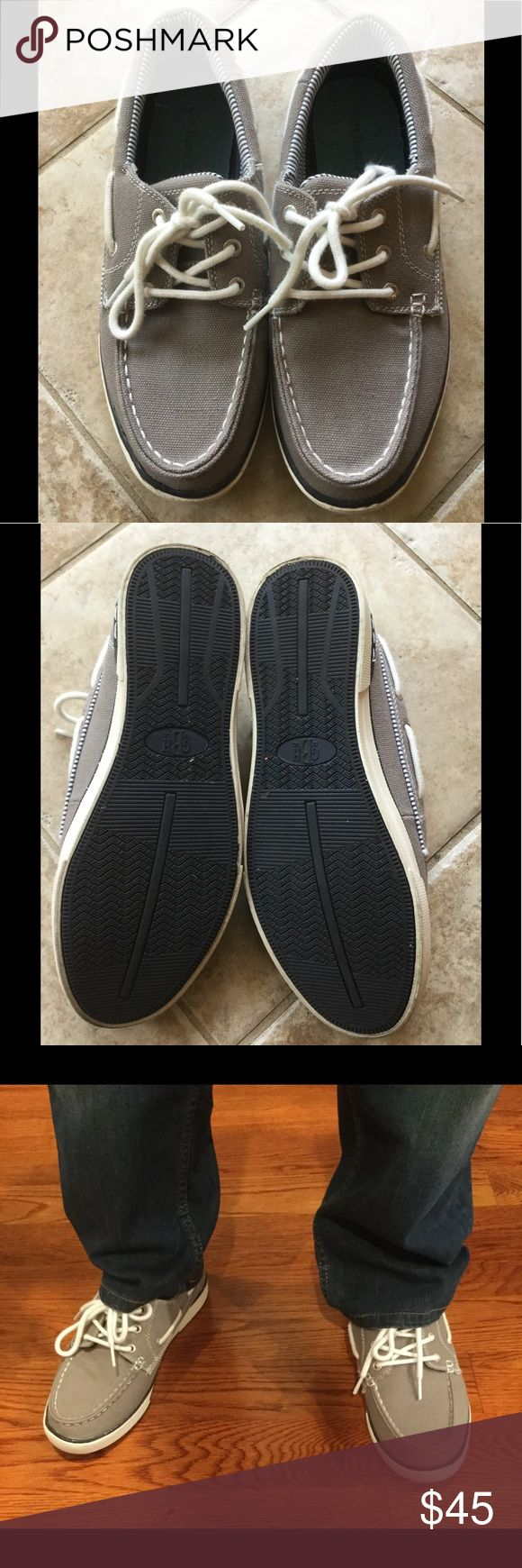😊 G.H. Bass & CO. MENS canvas shoes😊 These are great canvas boat shoes...white and grey detail...tie front w nice white stitching..so gently worn..excellent condition 👍🏻 G.H. Bass & Co. Shoes Boat Shoes