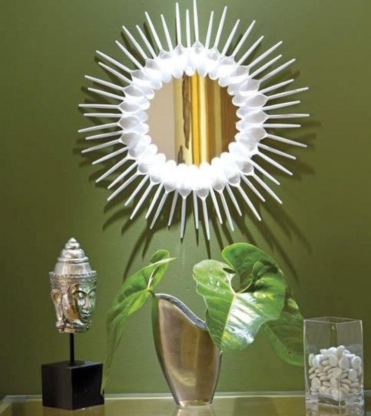 Faça você mesmo Moldura de Espelho com Colheres de Plástico / DIY Mirror Frame with Plastic Spoons                                                                                                                                                     Mais