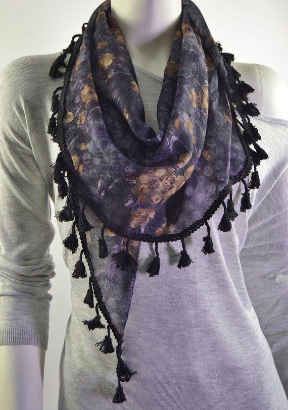 BUY 1 & GET 1 FREE  Purple Women's Scarf Black by LIFEPARTNER, $15.00
