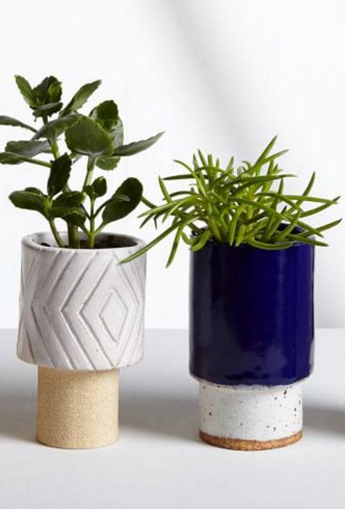 navy glazed planter
