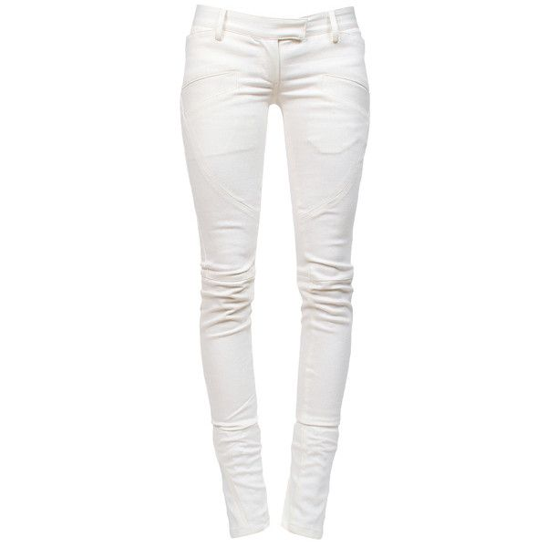 BALMAIN Biker Jeans Dirty White ($1,115) ❤ liked on Polyvore featuring jeans, pants, bottoms, pantalones, calças, biker jeans, balmain, skinny leg jeans, ankle zip skinny jeans and ankle zipper jeans