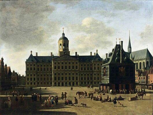 Gerrit Adriaensz. Berckheyde Amsterdam gezicht op de dam en stadhuis
