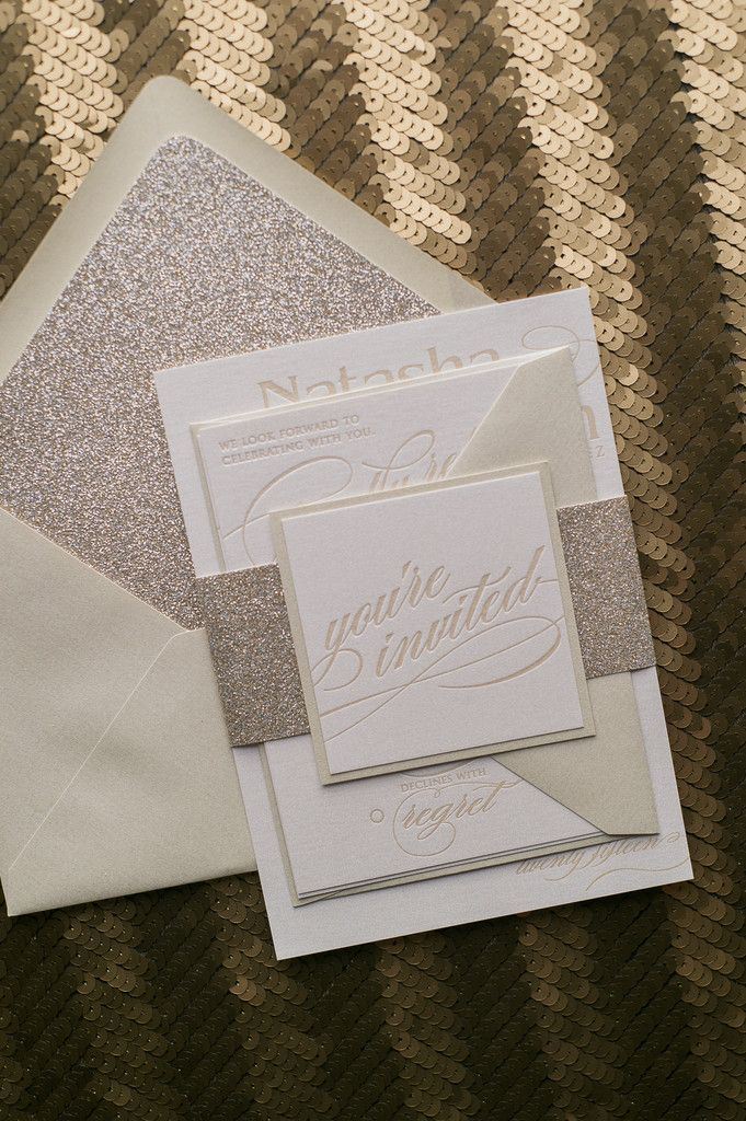 CYNTHIA Suite Glitter Package, champagne, gold, neutral wedding invitations, letterpress, you're invited
