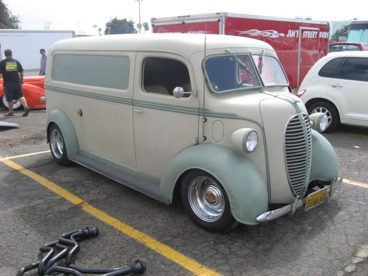 Custom 1949 Ford COE (cab over engine) panel van. The front half is a commercial '49 F-5 COE and the back half is a '49 F-1 Panel Delivery, grafted together at the front pillars. The headlights are custom oversized and the grill is stainless - kinda' rare. And that kinda describes the whole project really.
