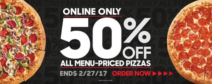 Get50% Off Pizza Hut Now through February 27th Pizza Hut is offering a 50% off menu-priced pizzas when you order online! No promo code required.   50% Off Pizza Hut