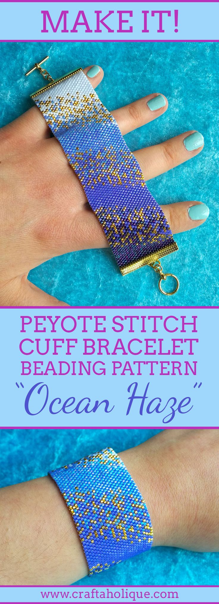 Make this beautiful peyote stitch beaded bracelet, inspired by the glittering blue hues of the ocean! See details about the pattern over at Craftaholique...