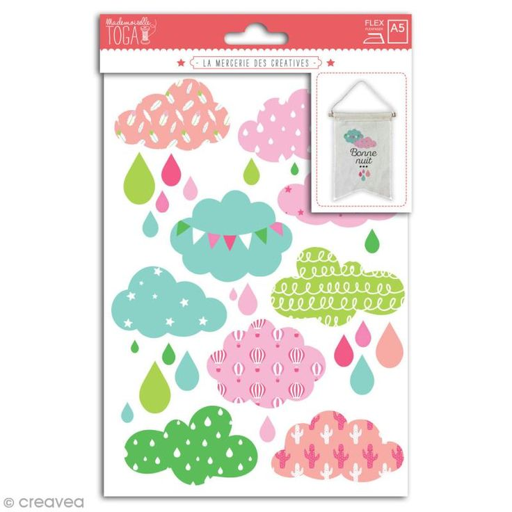 Stickers flex thermocollant - Nuages roses