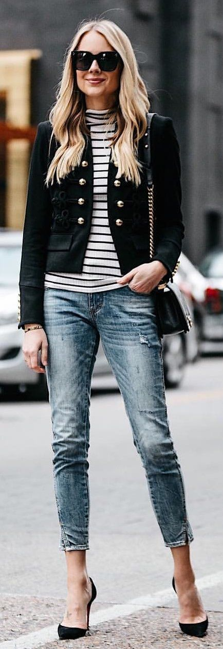 #winter #outfits gray and black striped shirt, black jacket, and blue denim jeans with pair of black pumps. Pic by @fashion_jackson.