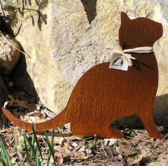 Rusty Finish Kitty Cat Metal Garden Art Yard Stake By MountainIron