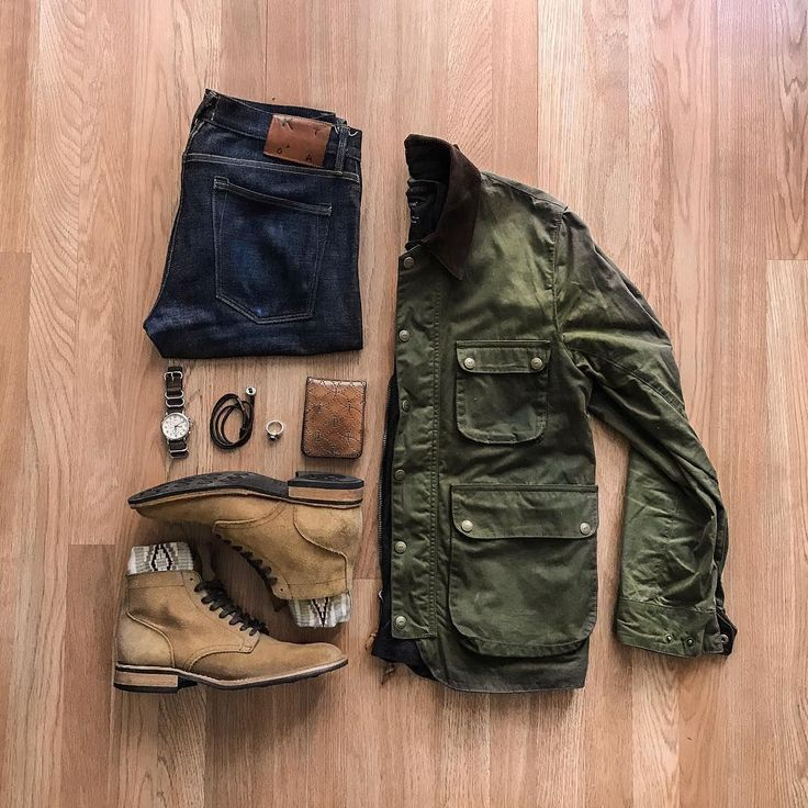 Rugged Men Fashion - Denim, Boots, Leather, Chore Coat - @cuffington  See more inspiration on Instagram @runnineverlong #MensFashionDenim
