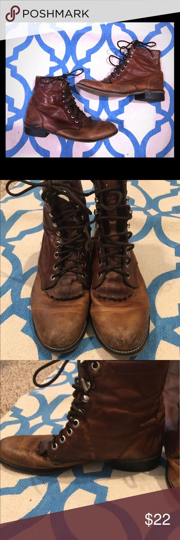 8.5 leather hipster boots Justin hipster boots. Genuine leather Justin Boots Shoes Lace Up Boots