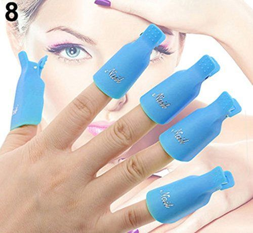 1 Set 10Pcs Great Popular Plastic Nail Art Clip Cap Primer Decor Manicure Stylish NonToxic Colors Blue -- Check out this great product.