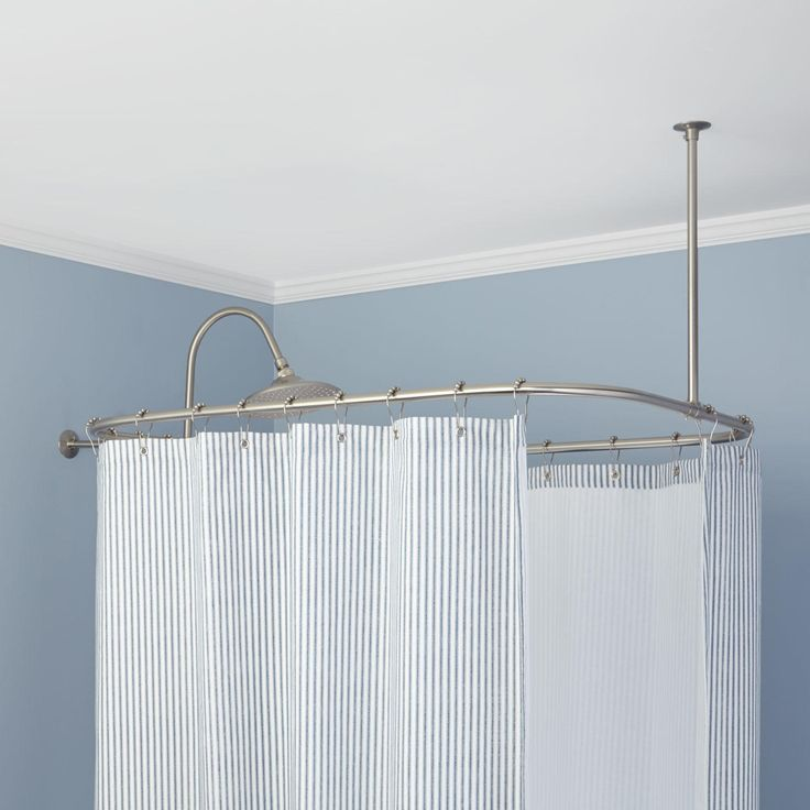 Rectangular Solid Brass Shower Curtain Rod Clawfoot Tubs