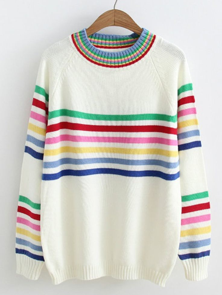 Sweaters by BORNTOWEAR. Raglan Sleeve Striped Jumper Sweater