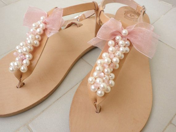 Leather sandals Bridal sandals Wedding flats by dadahandmade, €42.00