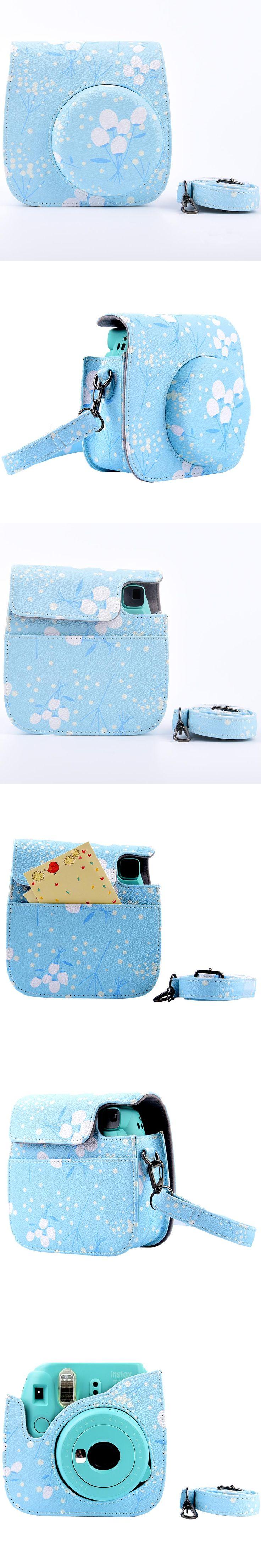Lovely Flower Camera Bag Case with Shoulder Strap for Fujifilm Instax Mini 8/Mini 8s Fuji Film Camera Pantone Blue