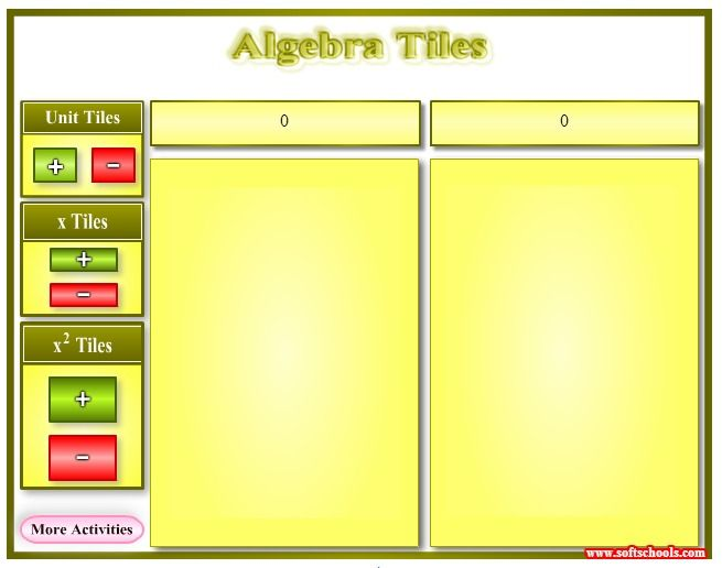 17 best images about classroom on pinterest equation for Algebra tile template