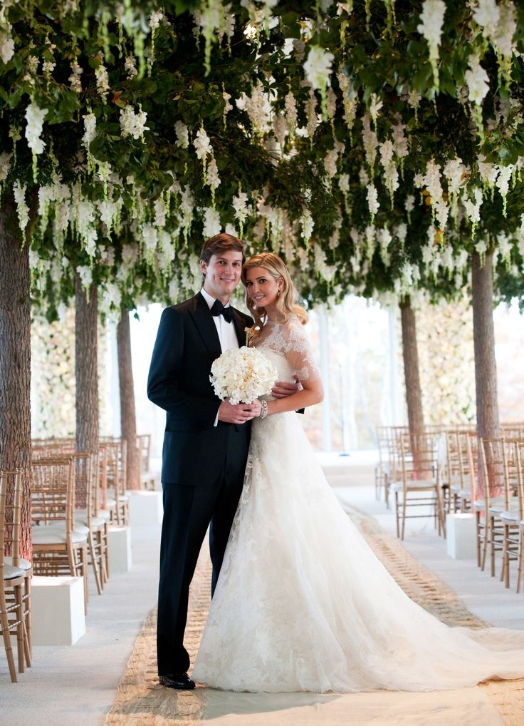 Draped in Vera Wang, Ivanka Trump wed Jared Kushner on October 25th, 2009. #Wedding