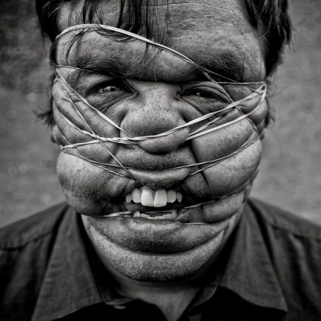 Distortion idea: rubber bands to distort the human body and squash, push and pull flesh out of place?