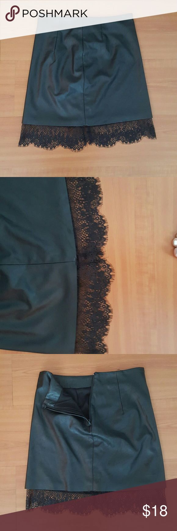 Black faux leather mini skirt Never worn!! Beautiful piece!! Super stretchy material for great fit ..the lace in tbe bottom makes it look so good!! H&M Skirts Mini